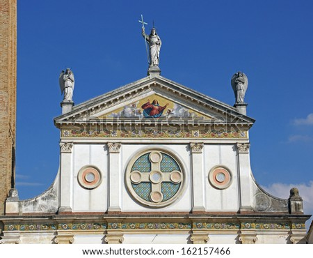 Architectural details on a beautiful Catholic church, near Venice Italy - stock photo