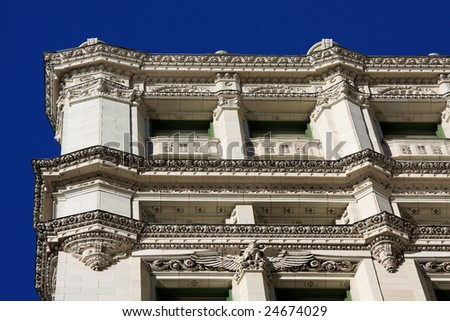 Architectural details on the Wrigley Building in downtown Chicago - stock photo