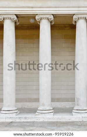 Architectural details with greek style columns - stock photo