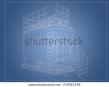Architectural drawing blueprint building container construction architectural drawing blueprint of the building from the container with construction lines malvernweather Gallery