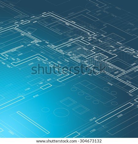 Architectural drawing. Illustration of a technical plan on a blue background. Raster version - stock photo