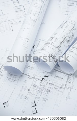 architectural drawing paper rolls of a dwelling for construction
