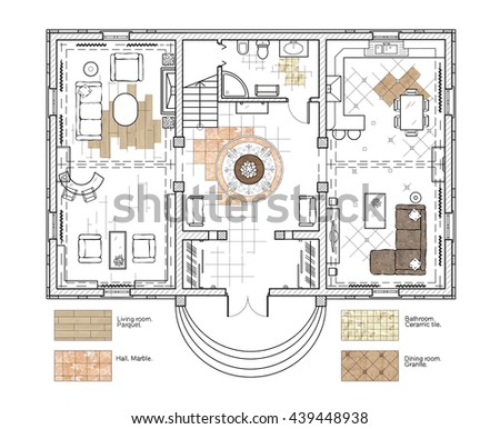 Architectural Drawing Design House Floor Plan Stock Illustration
