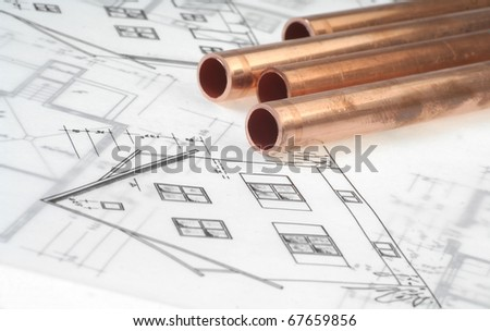 Architectural drawing with copper pipes - stock photo
