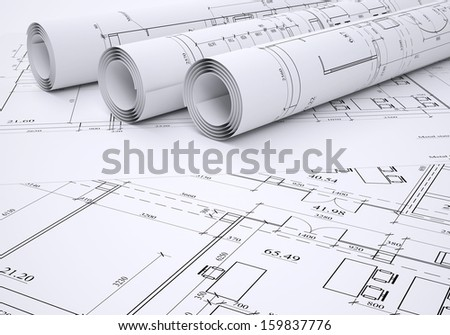 Architectural drawings. Flat and rolled. 3d render - stock photo