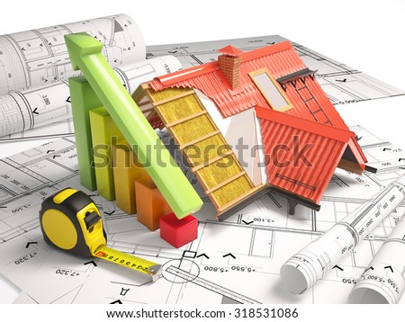 Architectural drawings from the building structure - stock photo