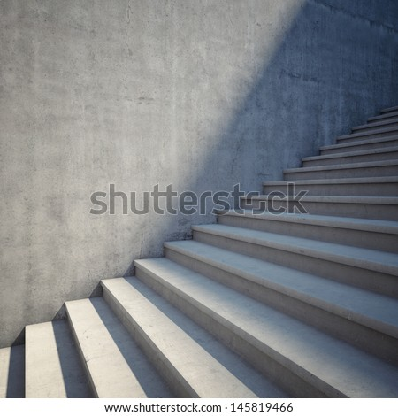 Architectural element of concrete stairs up - stock photo