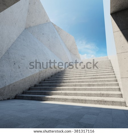 Architectural element of concrete wall with stairs up - stock photo