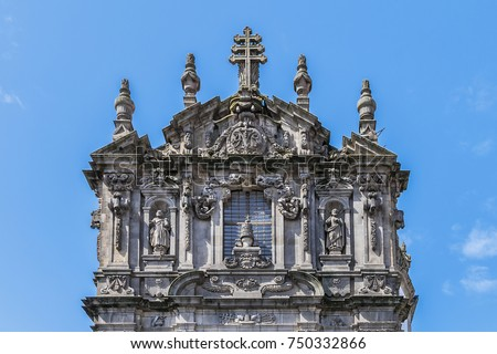 Architectural Facade Details Of Baroque Church Of Clerigos. Church Of  Clerigos (Igreja Dos Clerigos