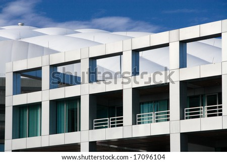 Architectural features of a modern building.