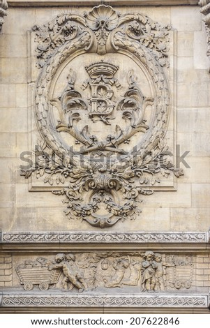 Architectural fragment of Famous building of Stock Exchange (Bourse de Bruxelles, Beurs van Brussel). Building was erected from 1868 to 1873 in the Neo-Renaissance style. Brussels, Belgium.