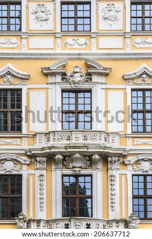 Architectural fragments of beautifully old building in Dresden, Germany. - stock photo