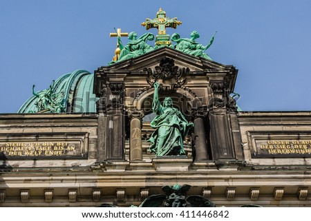 Architectural fragments of Berlin Cathedral (Berliner Dom) - famous landmark on the Museum Island in Mitte district of Berlin. It was built between 1895 and 1905. Germany.