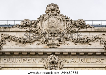 Architectural fragments of famous D'Orsay Museum - museum in Paris, France. It is housed in former Gare d'Orsay (railway station). Museum holds mainly French art dating from 1848 to 1915. - stock photo