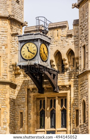 Architectural fragments of Tower of London - historic castle on the north bank of the River Thames in central London - a popular tourist attraction. Great Britain.