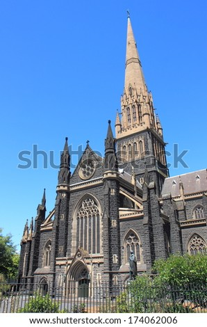 Architectural glory of Melbourne, St Patrick's Cathedral Melbourne Australia   - stock photo