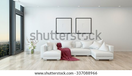 Architectural Interior of Open Concept Apartment in High Rise Condo - Red Throw Blanket on White Sectional Sofa in Open Concept Modern Living Room with Minimal Furnishings. 3d Rendering - stock photo