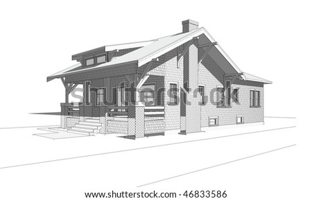 Architectural Perspective Drawing Old Craftsman Style Stock