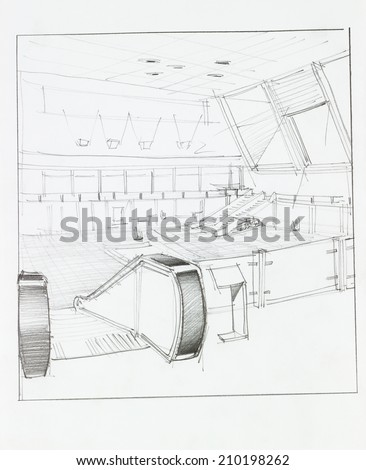 architectural perspective of interior airport with electrical staircase, drawn by hand - stock photo
