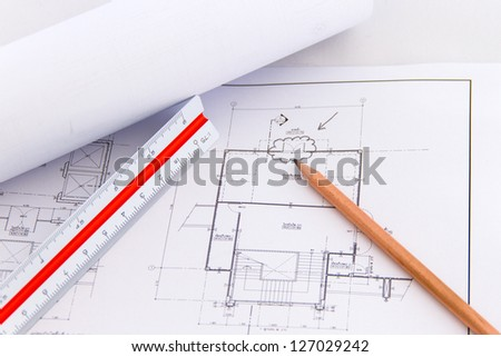 Architectural plan,technical project drawing,Architectur e planning of interiors design on paper,construction plan - stock photo