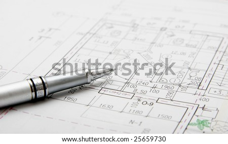architectural plans and pen - stock photo