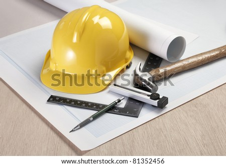 Architectural plans and tools - stock photo
