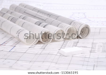 Architectural plans old paper tracing paper stock photo 113065195 architectural plans of the old paper tracing paper malvernweather Images