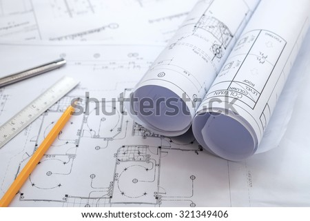 Architectural plans, pencils and ruler ,Blueprin non coopyligth - stock photo
