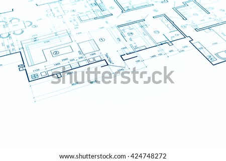 architectural project, architectural plan, construction plan, architectural background - stock photo