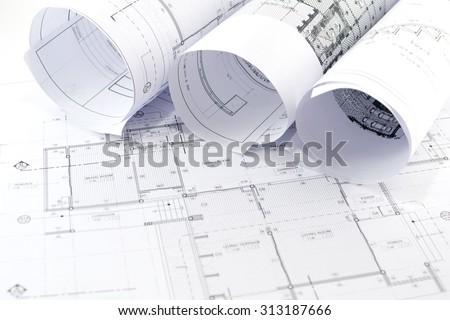 Architectural  project,Architectural plans. - stock photo