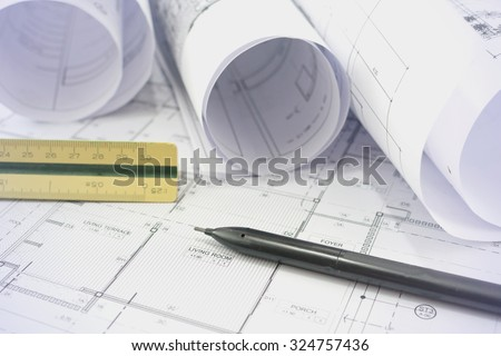 Architectural  project,Architectural plans,plan,blueprint non copyright - stock photo