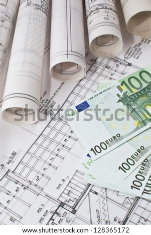 Architectural project blueprints and euro money real estate concept - stock photo