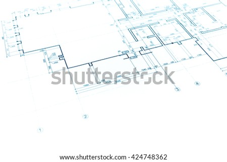 architectural project, technical drawing, construction plan background - stock photo