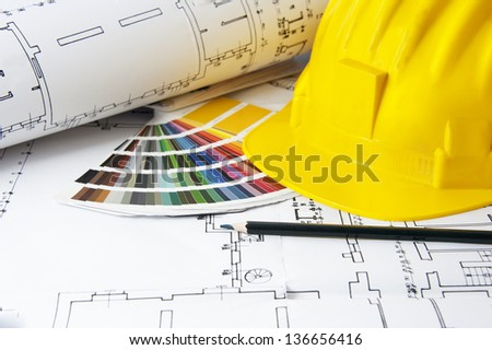Architectural projects, secure hat,  color guide and pencil - stock photo