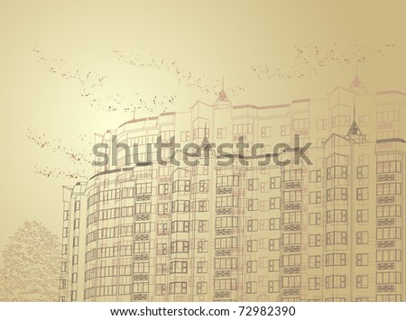 Architectural sepia urban background (see eps version in my portfolio) - stock photo
