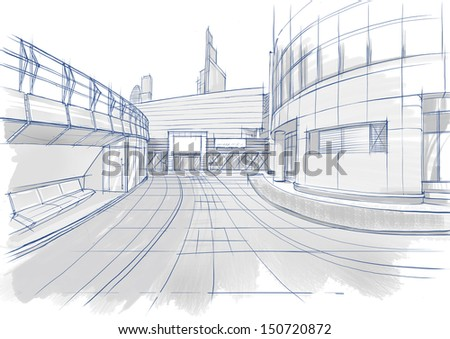 Architectural sketch. Buildings.