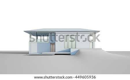 Architectural sketch design of house - 3d rendering