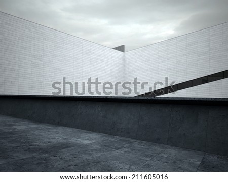 Architectural White Walls at House Roof Top Area - stock photo