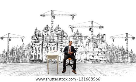architecture and his project of building construction - stock photo