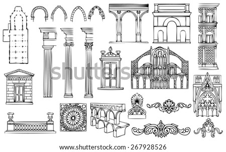 architecture and ornaments set - stock photo