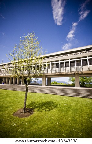 Architecture at Simon Fraser University, British Columbia - stock photo