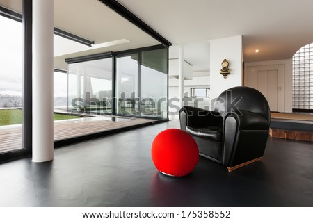 Architecture, beautiful interior of a modern villa, living room - stock photo