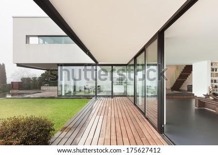 Architecture, beautiful interior of a modern villa, view from veranda - stock photo