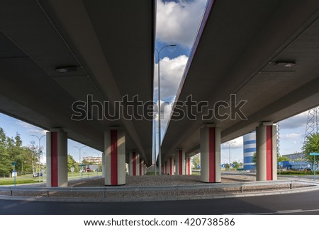 Architecture. Below the viaduct of the city - stock photo