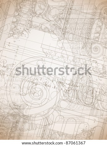 Architecture Blueprint - Hand draw sketch ionic architectural order. Bitmap copy my vector ID 84635959 - stock photo