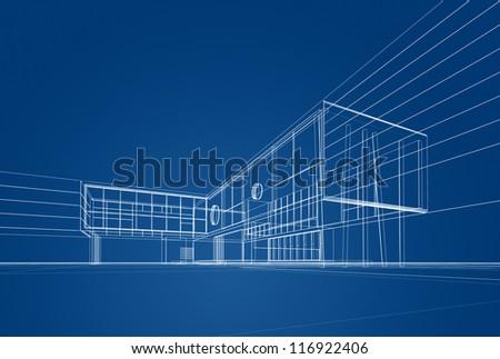 Architecture blueprint on blue background - stock photo