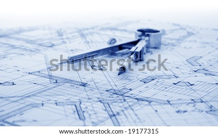 architecture blueprint & tools - stock photo