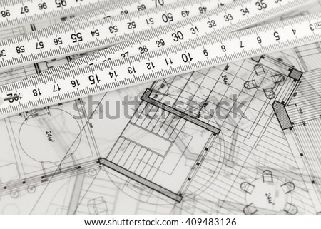 architecture blueprints - house plans & folding ruler