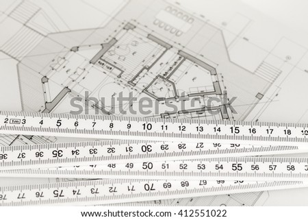 Architecture Blueprints House folding house plans rule stock images, royalty-free images