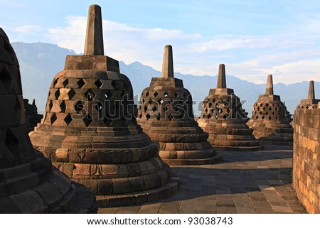 Architecture Borobudur Temple Stupa Row in Yogyakarta Java Indonesia. - stock photo